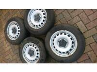 "Caddy 15"" steel wheels excellent continental premium contact tyres"