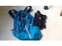 cycling bag and gloves