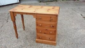 Solid Pine Desk 4 Drawers