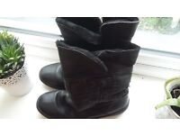 Black ladies winter boots, real leather with faux fur lining. Nearly new, V. expensive boots. Size 8