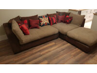 CORNER SOFA SUITE, BROWN FABRIC/LEATHER, SCATTER BACK + POUFFE