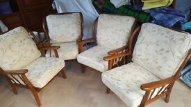 4 Beautiful Vintage 60s solid wood chairs - fully reupholstered