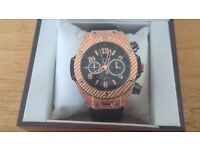 brand new hublot watch gold and black