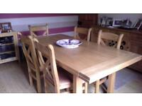 Willis & Gambier solid oak extending dining table and six chairs