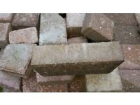 Paving blocks - approx 220 blocks in red and grey 200mm x 100mm x 50mm