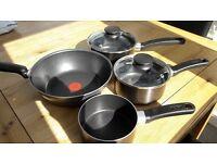 3 Tefal Saucepans and Deep Stir fry Pan