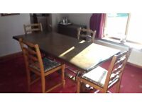 Oak refectory dining table & chairs