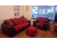 Sofa Genuine Leather (3 seater and/or 2 seater and/or armchair) and storage foot stool