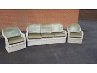 Lovely cane wicker conservatory 3 piece sofa suite, 3 seater sofa and 2 armchairs, can deliver