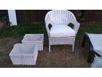 IKEA White wicker chair