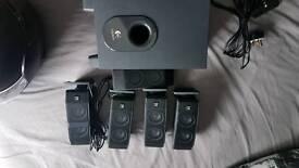 Logitech 5.1 surround sound speakers.