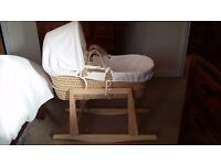 Moses Basket with Rocking Stand **BARGAIN ** (due to house move)