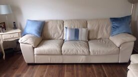 Must Go! Cream Leather 2 & 3-seater sofa including storage footstool. VG Condition.