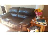 Dark chocolate leather sofa