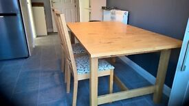 IKEA birch extending table and chairs