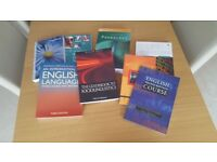 8 English Language and Linguistics textbooks for University or College level studies in great shape