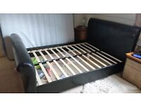 King size Feux Leather sleigh bed.