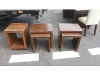 Dark oak nest of tables/ lamp table