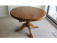 Solid Pine Round Dining Room Table (extendable)