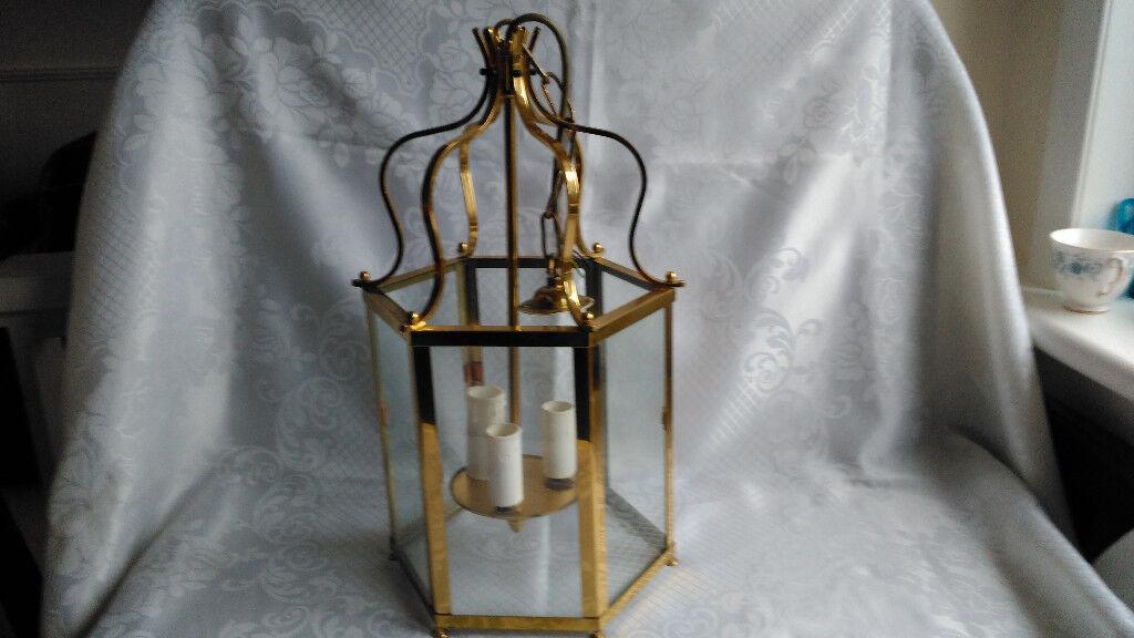 large vintage possible christopher wray 3 light large brass lantern