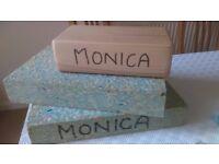 yoga blocks, 2 foam and one wood