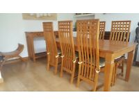 Beautiful Handmade solid Teak Dining Table &6 ladder Back chairs in Rennie Mackintosh design