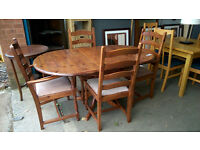 Dark pine kitchen table with 4 chairs