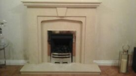 Marble Stone Fire Place with Gas Fire