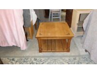 solid oak square coffee table 2 tier