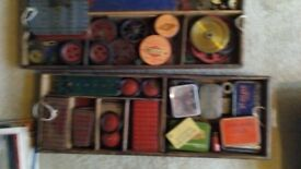 Vintage Meccano parts in storage box. Many hundred in mixed condition pre WW2