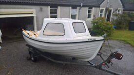 boat, and trailer, for sale, used in sea loch mainly for fishing,