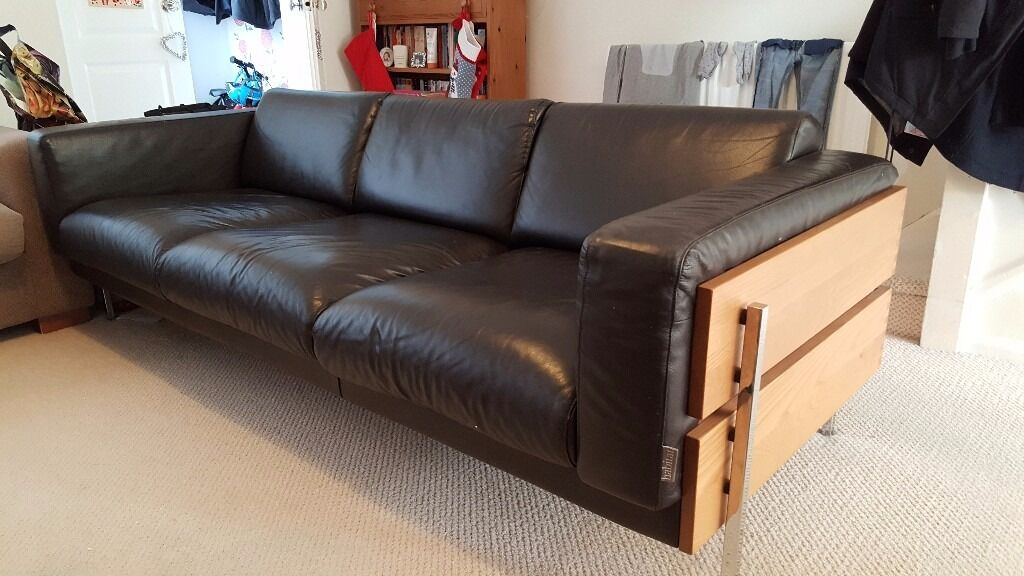 Habitat Robin Day Forum Sofa Dark Brown Leather And Oak