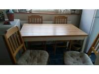 Pine oblong kitchen table+chair