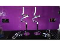 """Pair of Modern Firstlight """"Wave"""" LED 90 Light Table Lamps in Polished Chrome - Excellent Condition"""