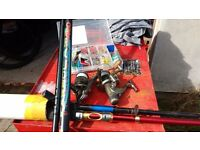 fishing gear, rods, reels