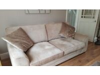 Three seat sofa, cuddle chair, foot stool/storage like new