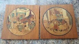 Pair of Vintage Inlaid Wood Marquetry pictures depicting scenes from 'The Wind in the Willows'