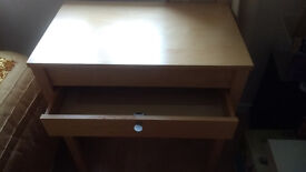 Desk with a drawer , adjustable second desk that can be slide in and out