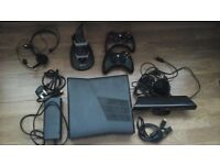 x box 360 + 2 wireless controllers, kinect + 9 games