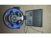 Platstation 2 Steering Wheel and Peddles