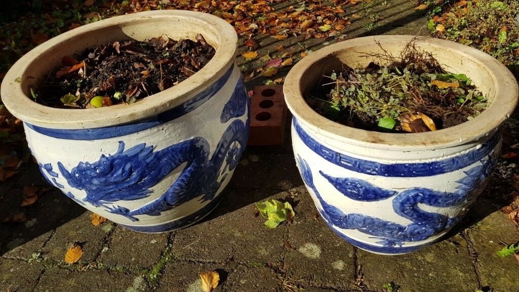 2 Large Decorated Ornamental Chinese Garden Flower Pots In Norwich