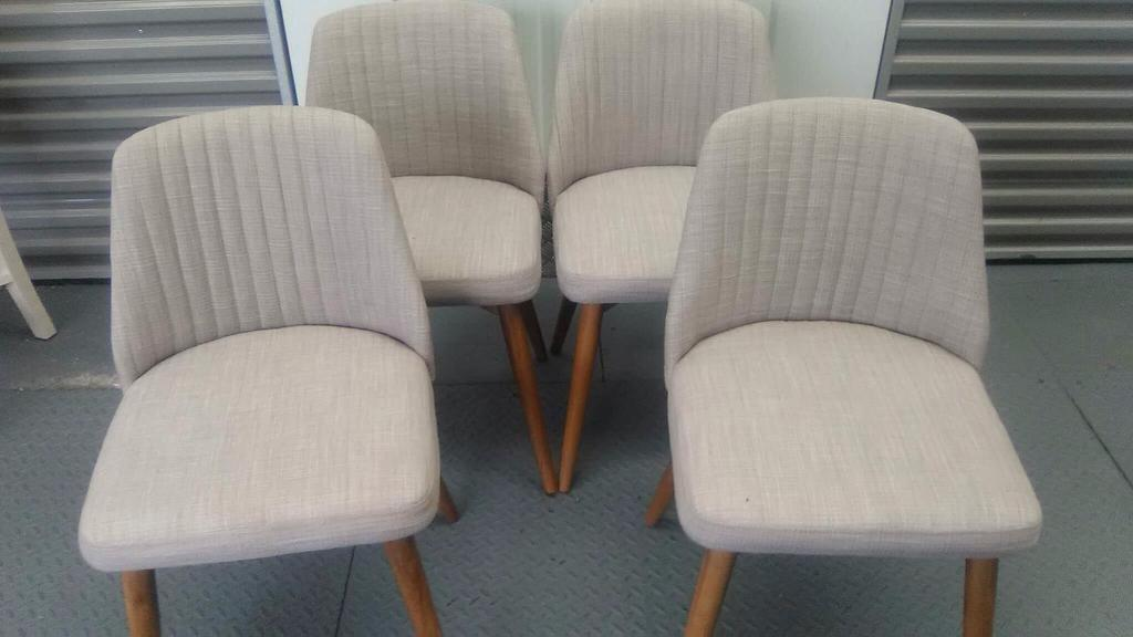 4 low back fabric chairs