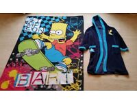 Kids 12-14 Years Bart Simpson Gown + Blanket, Good condition, Contact me soon as, Cheap BOTH for £5