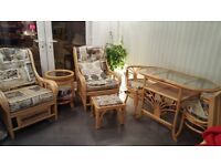 2 chairs, 2 seater dining table , foot stool & small table