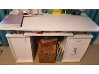 white desk table with drawer unit and shelf