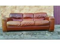 Italian distressed brown leather couch sofa. Pub. Cafe. Restaurant. Industrial look