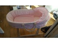 Pink moses basket and stand