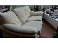 3 seater cream fabric sofa