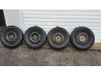 175 65 14 4 x steel wheels + 4 x tyres