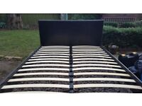 King size bed frame black faux leather